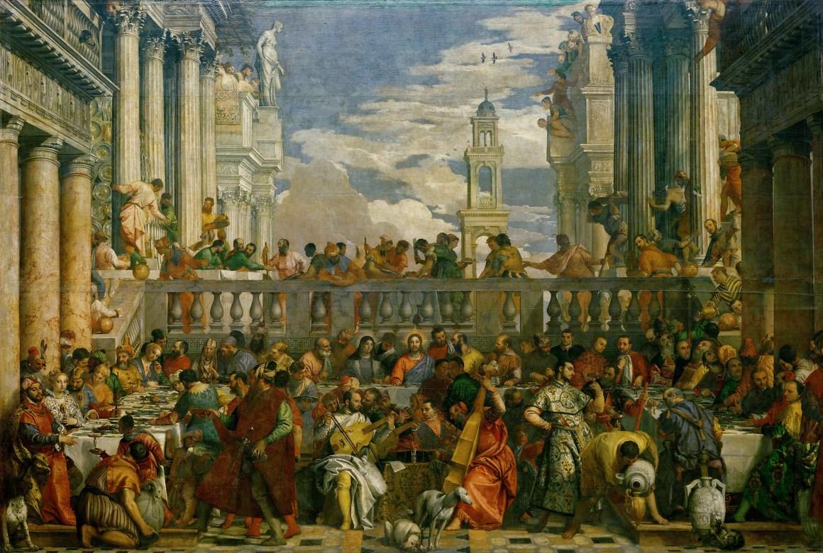 """Paolo Veronese """"Nozze di Cana"""" au Musée du Louvre à Paris, en France."""