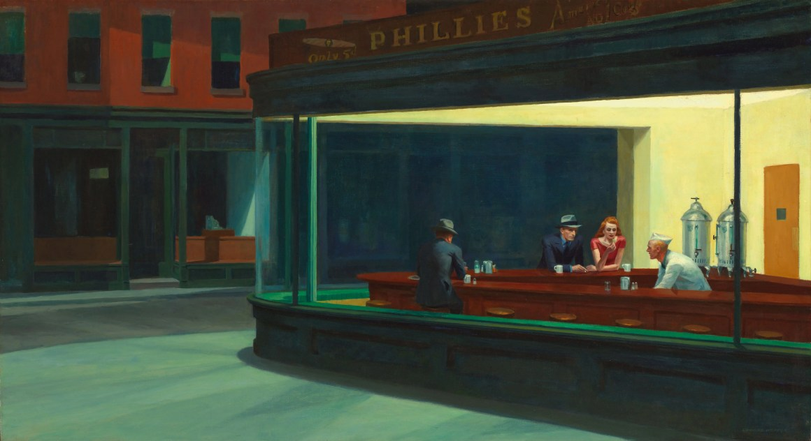 "Les ""Nighthawks"" d'Edward Hopper à l'Art Institute de Chicago."