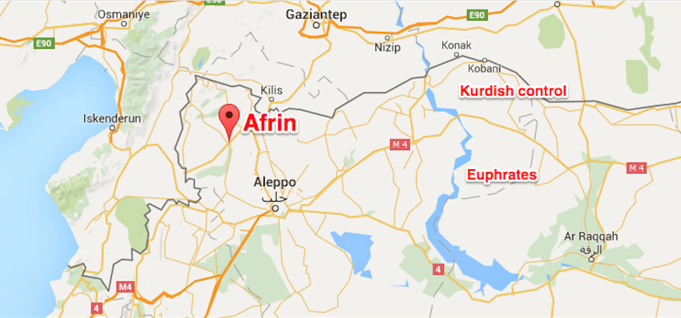 Image result for Afrin, Turkey, Syria, map