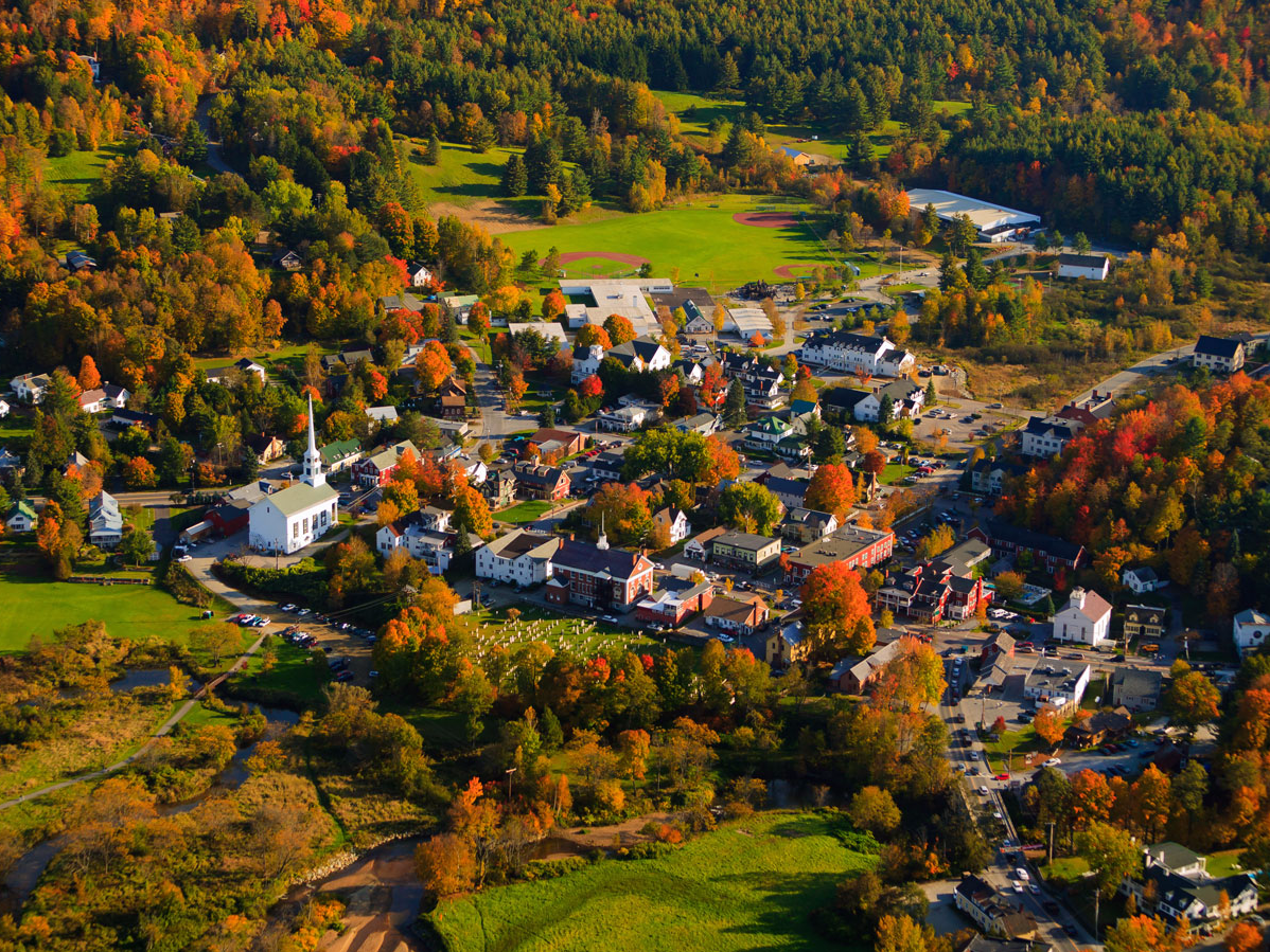 The resort destination of Stowe, Vermont, is known for its skiing, hiking, mountain biking, and world-class spas.