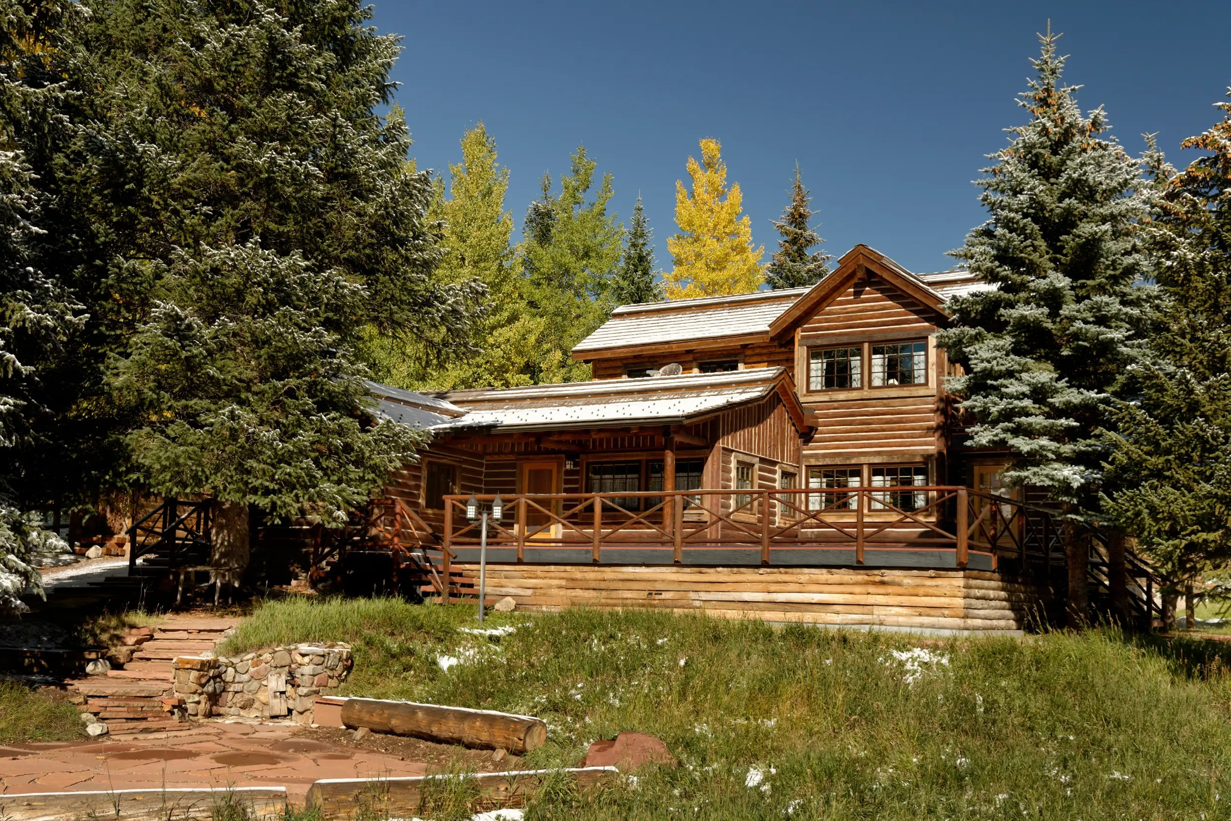 One of the residences is the American Lake log cabin; it's on offer with the main parcel for $60 million. The property manager currently calls the three-bedroom cabin home.