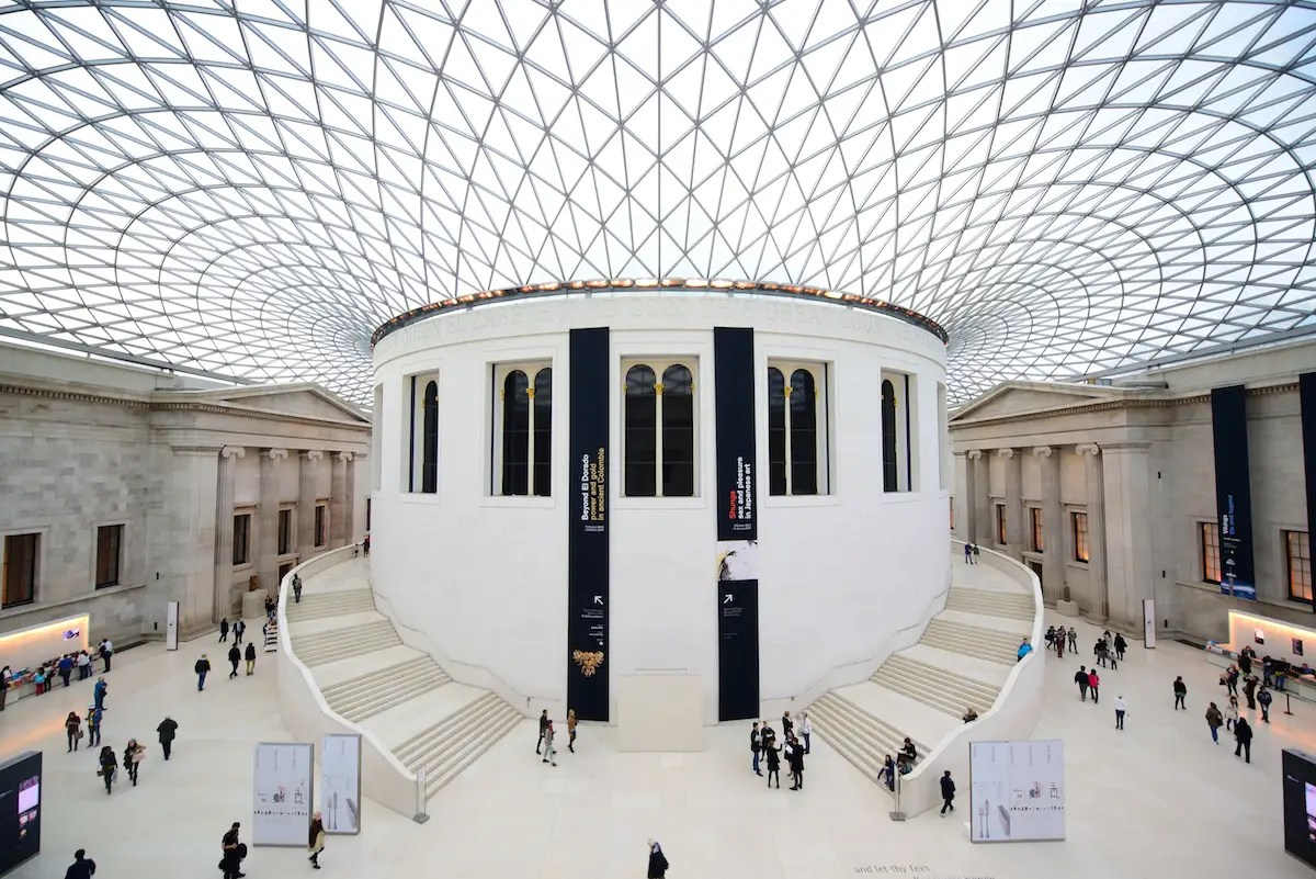 72. Watch tourists' jaws drop as they look up in the Great Court — designed by Norman Foster — at the British Museum.