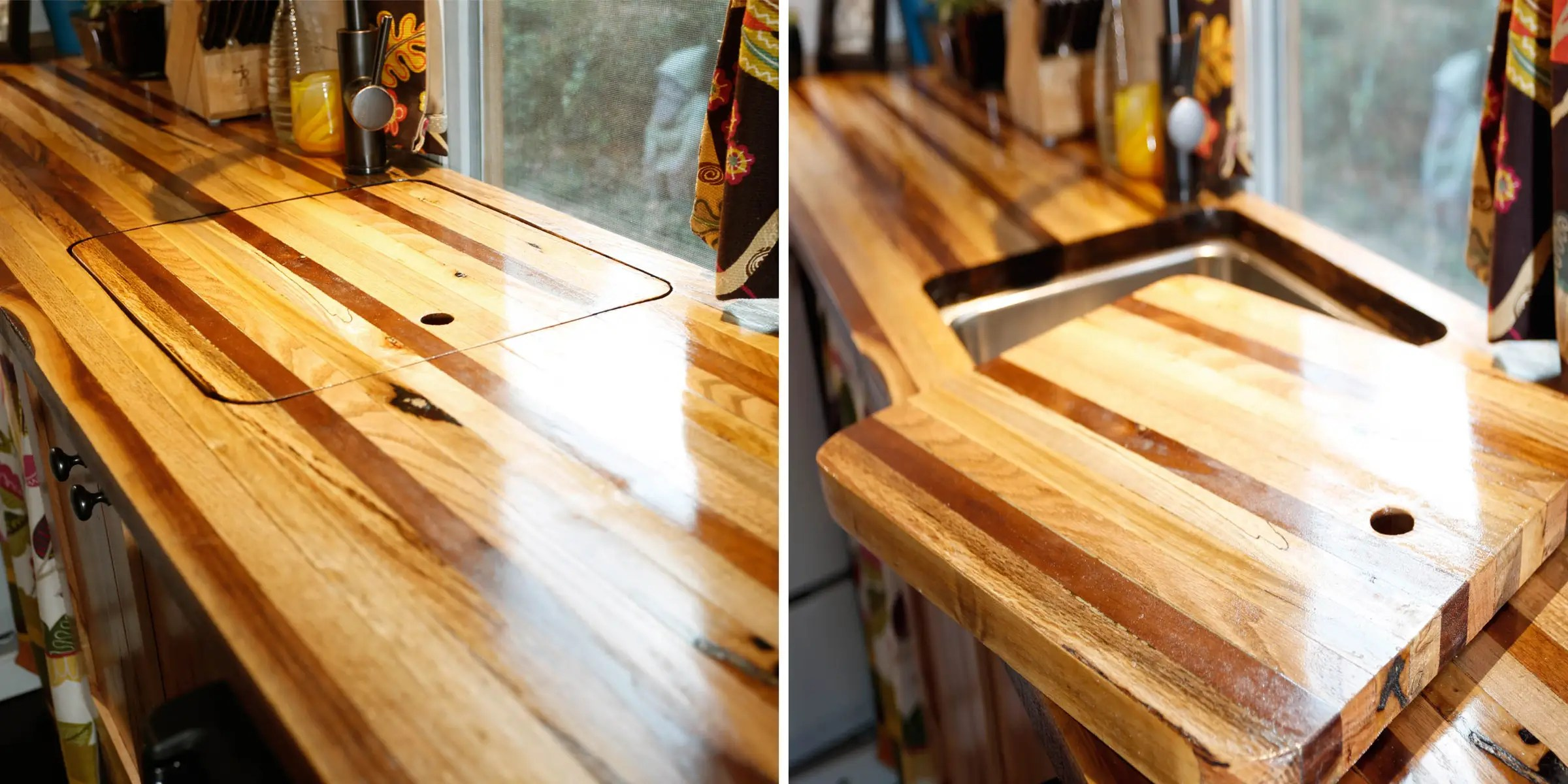 Christian handcrafted the butcher's block countertop from five different kinds of trees that fell in a tornado in his parent's backyard.