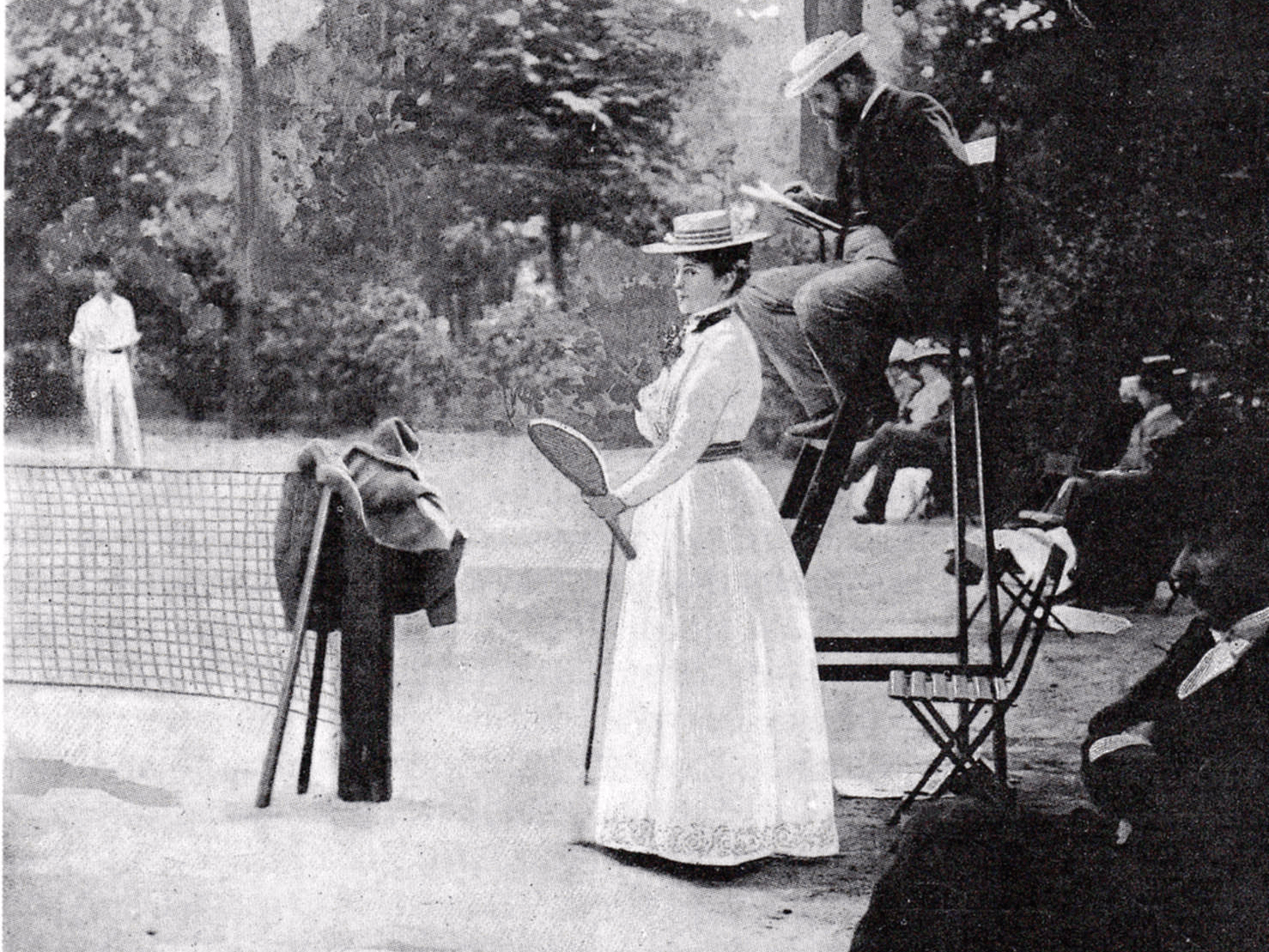 Paris, 1900: This year marked the first in which women were allowed to compete in the Olympic games. Pictured is one of the first female tennis players. Winners of the 1900 Olympics were awarded cups and trophies instead of medals.