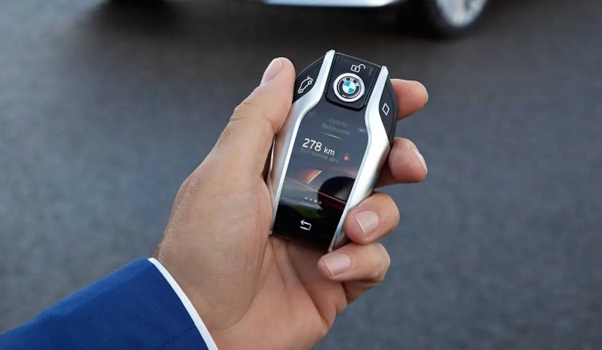 The BMW 7-series' key has a full-color touch screen.