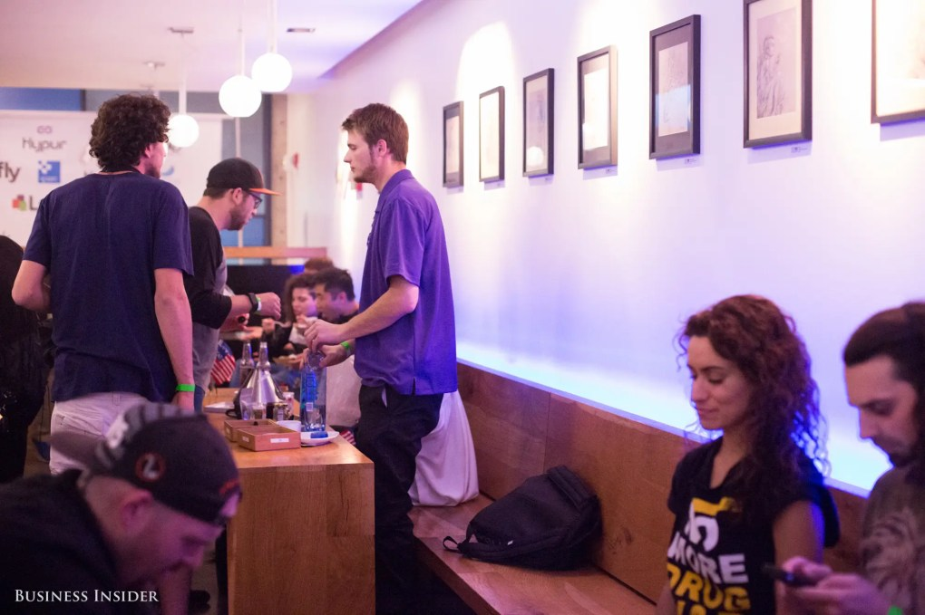 """Attendees seemed to get a kick out of the event space, Sparc. The dispensary been called the """"Apple store of marijuana shops"""" for its clean, sleek, well-lit interiors."""