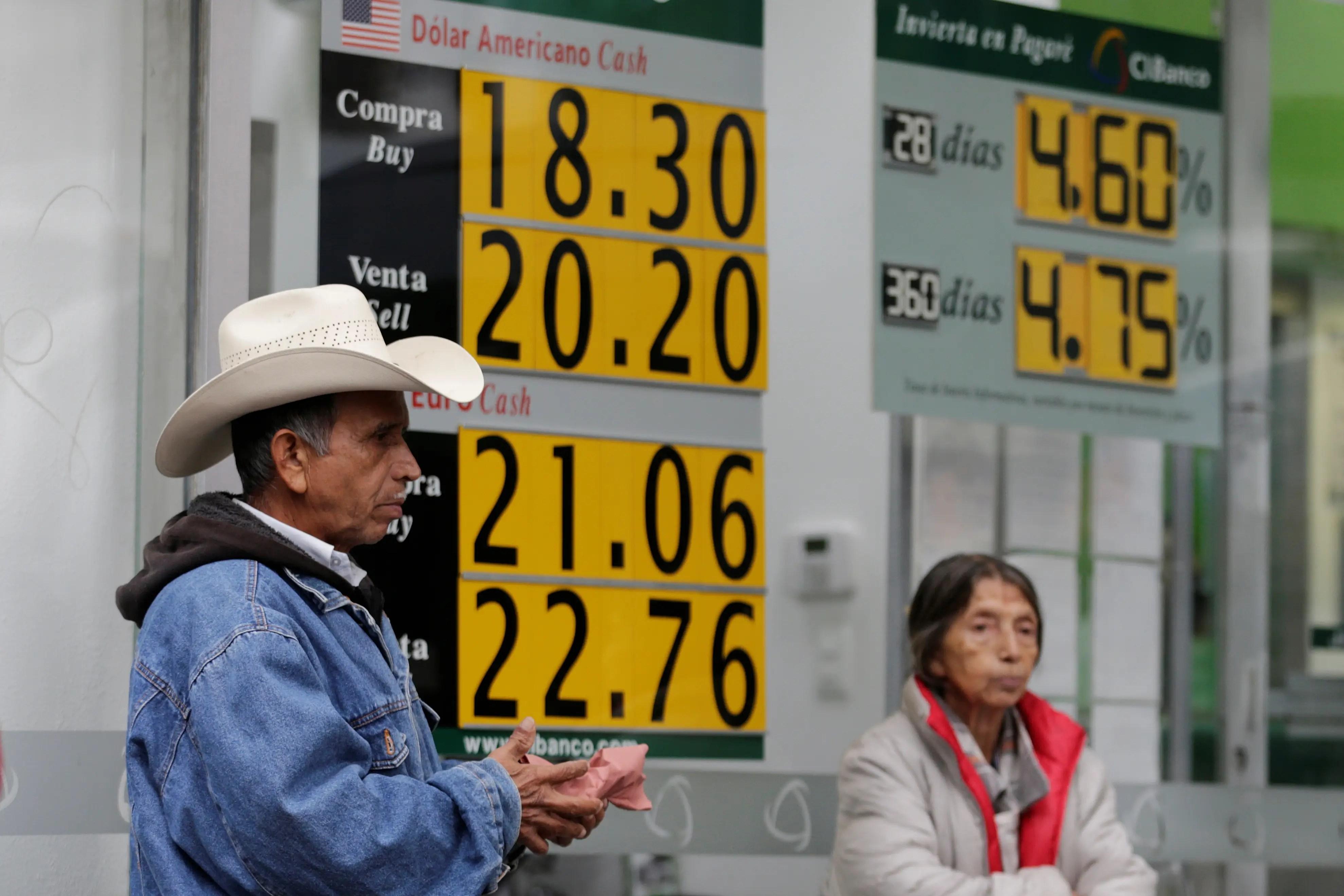 Mexico peso dollar fall value