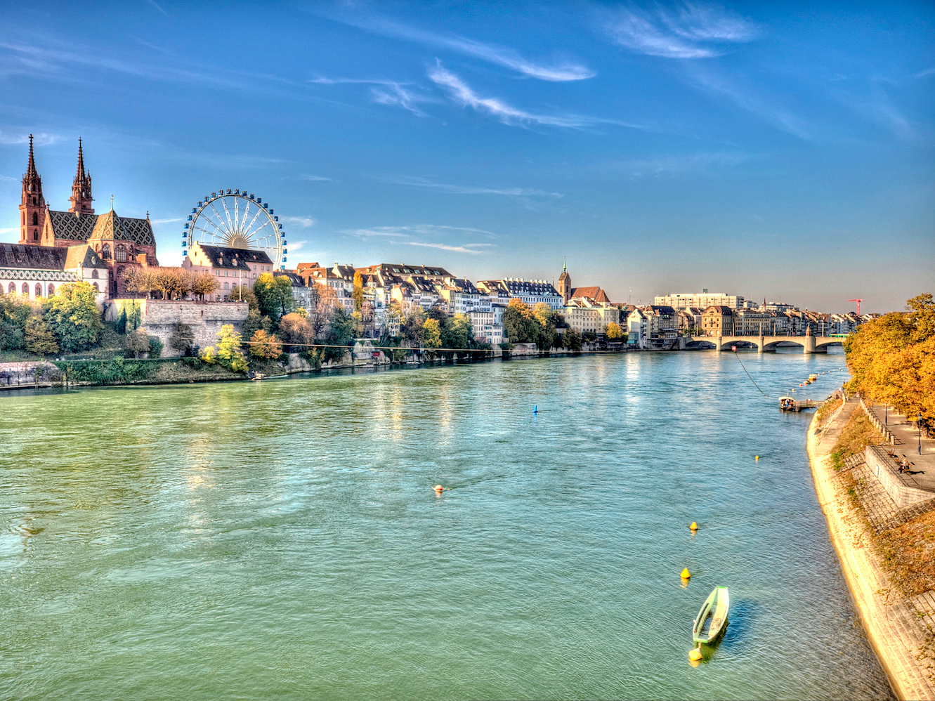 The city of Basel borders the Rhine River. It's known for its red sandstone Gothic cathedral, which dates back to the 12th century and houses the tomb of the famous Dutch scholar, Erasmus.