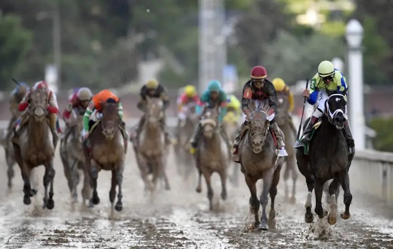 May 6, 2017; Louisville , KY, USA; John Velazquez aboard Always Dreaming (5) leads the field and wins the 2017 Kentucky Derby at Churchill Downs. Mandatory Credit: Jamie Rhodes-USA TODAY Sports