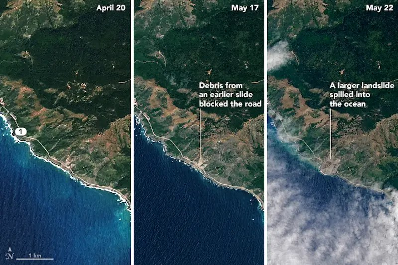 big sur mudslide nasa earth observatory