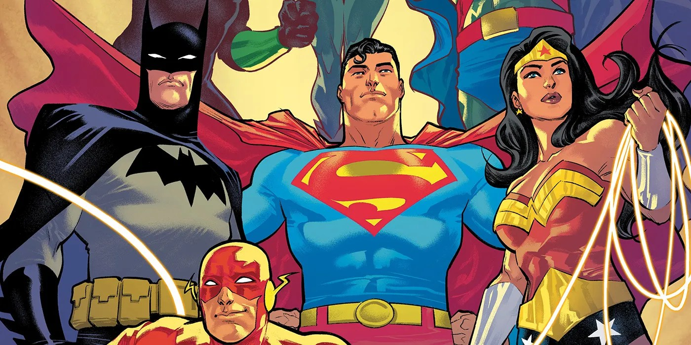 Batman, Superman, and Wonder Woman stand front and center, with Flash's head, Green Lantern's stomach, Martian Manhunter's abdomen, and Hawkgirl's legs, barely in the frame.