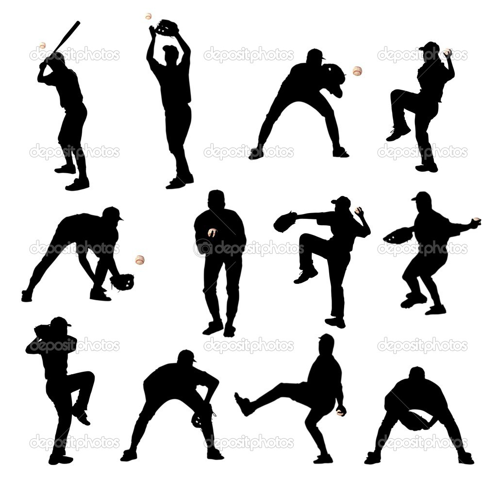 Silhouettes Of Baseball Players