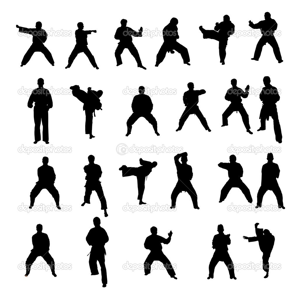 Silhouetten Von Martial Arts Sportler