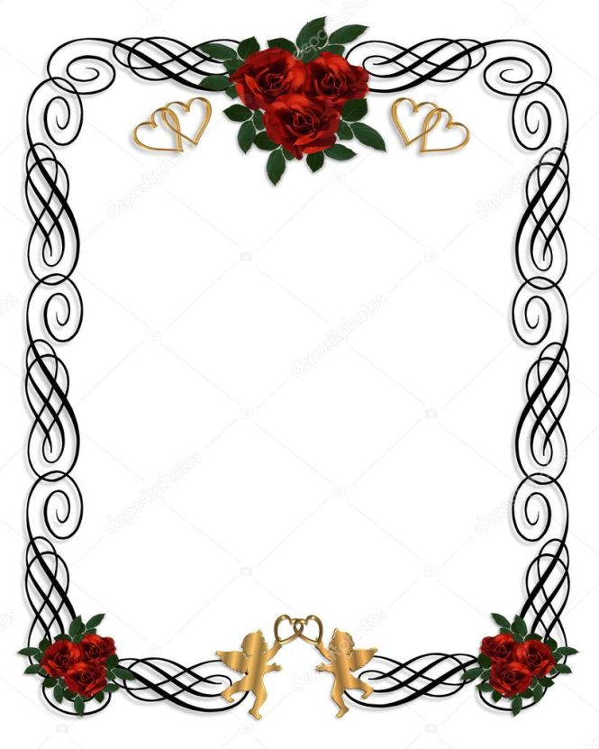 Drawing Image And Ilration Composition Design Element For Valentine Or Wedding Invitation Border Frame On White Background With Copy E