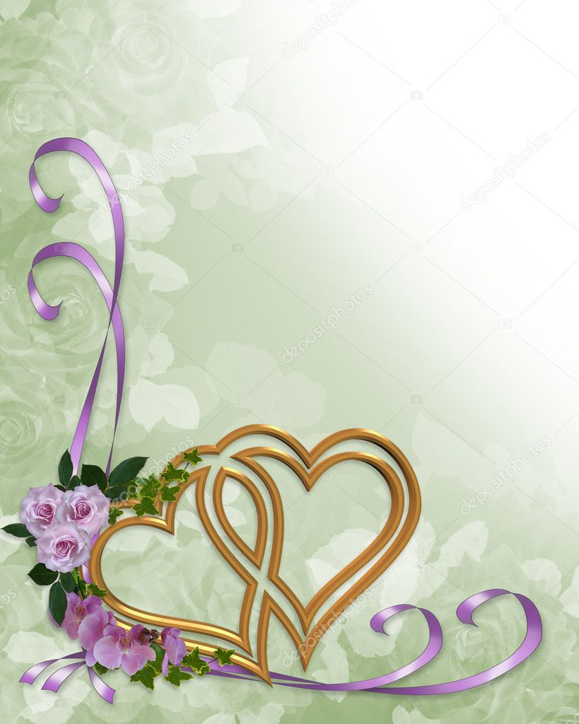 Wedding Invitation Gold Hearts Stock Photo Irisangel