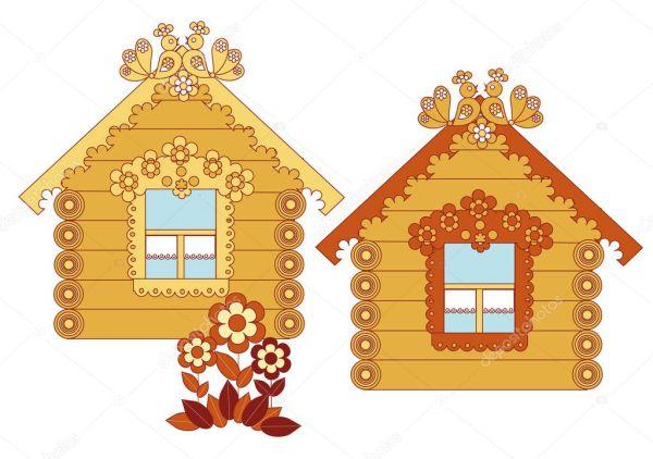 Расписные деревянные дома — Векторное изображение ...