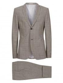 Topman - Costume coupe skinny en lin à carreaux gris