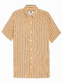 Chemise cintrée à rayures jaunes et blanches Topman