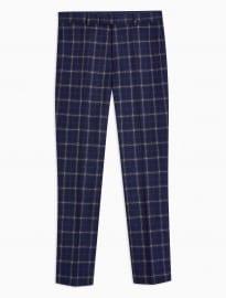 Pantalon coupe ajustée à carreaux bleu marine Topman