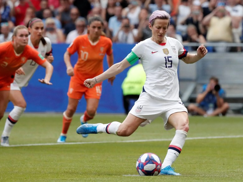 FILE PHOTO: Soccer Football - Women's World Cup Final - United States v Netherlands - Groupama Stadium, Lyon, France - July 7, 2019 Megan Rapinoe of the U.S. scores their first goal from the penalty spot REUTERS/Benoit Tessier