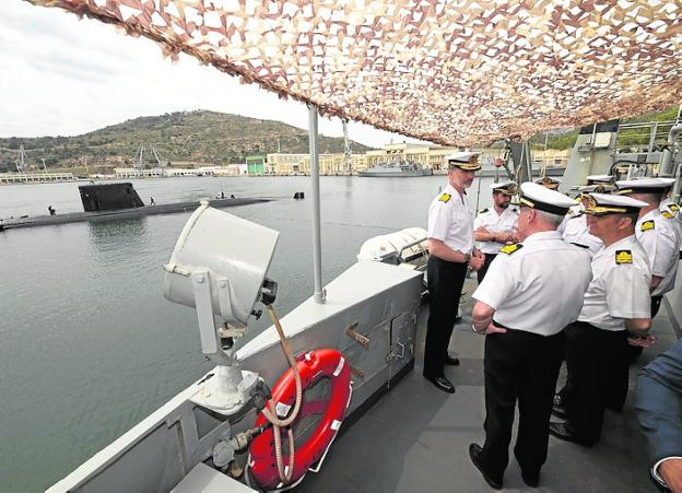 Felipe VI, on a visit to the Cartagena Arsenal in 2019.