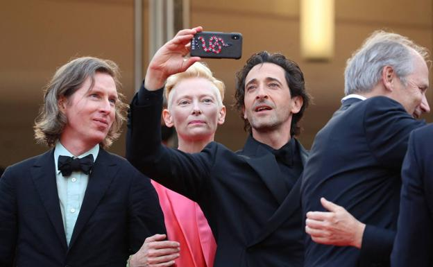 Director Wes Anderson with Tilda Swinton and Adrien Brody at the recent Cannes Film Festival.