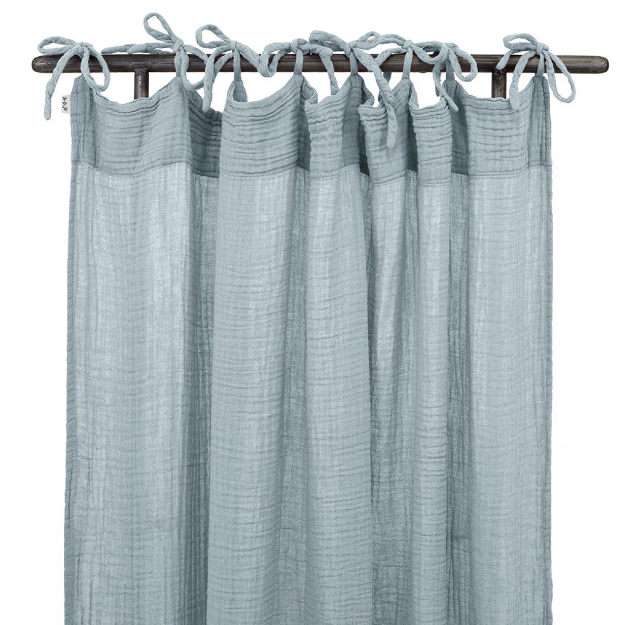rideau en gaze de coton bio bleu clair
