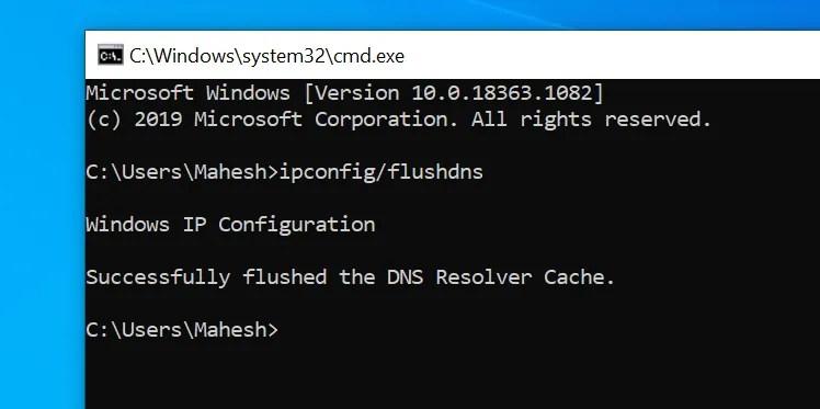 Flush DNS on Windows