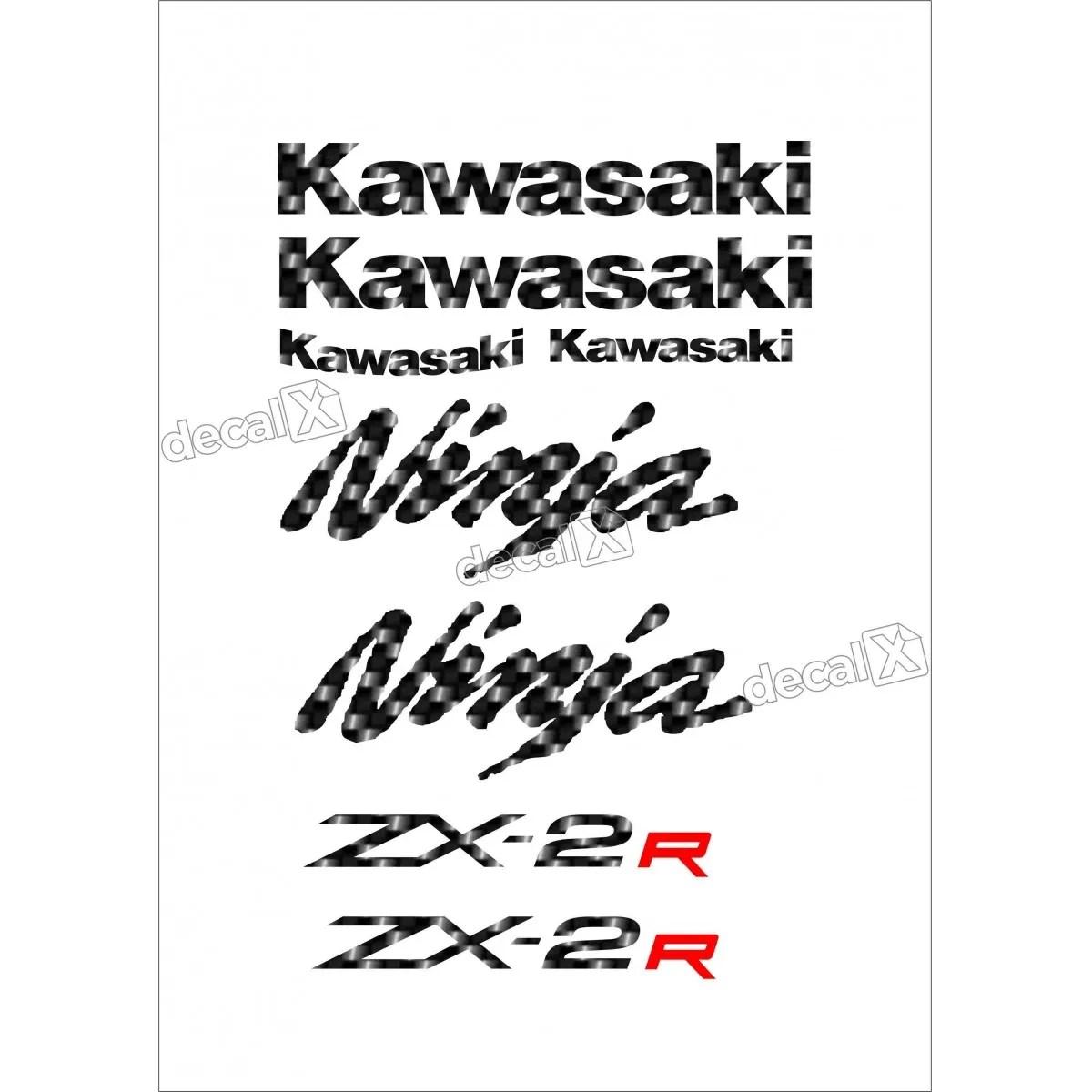 Jogo Faixa Emblema Adesivo Kawasaki Ninja 250r Ninja Zx 2r
