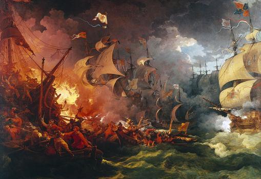 Derrota de la Armada Invencible, pintura de Philippe-Jacques de Loutherbourg (1796)
