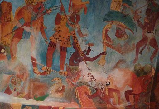 Mural que representa a los guerreros mayas