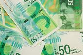 picture of shekel  - Stack of israeli banknotes with fifty shekel note on top - JPG