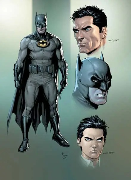 July 2012: Earth One Batman – The yellow oval returns around the bat logo in a more subdued costume.