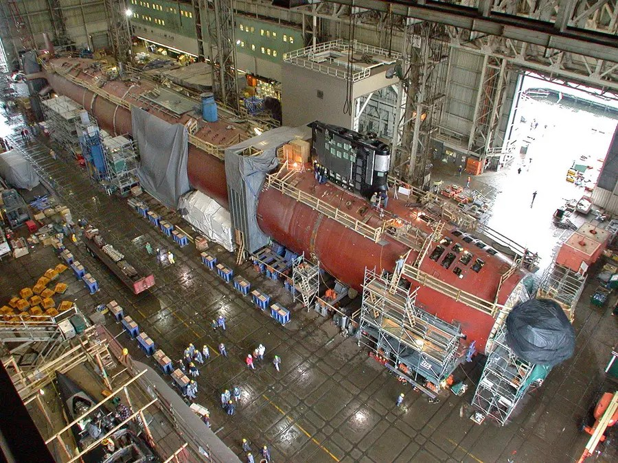 The submarines are nearly 400 feet long and have been in service since 2003