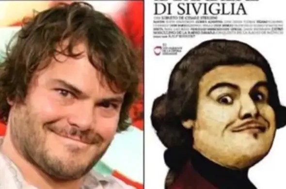"Comedian Jack Black looks like the lead in the classic opera ""The Barber of Seville."""