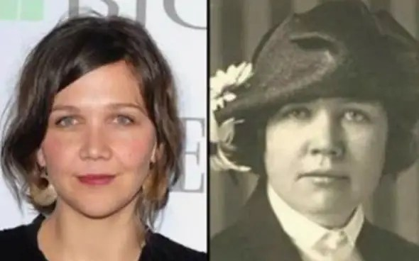 Actress Maggie Gylenhaal looks like historical journalist and women's rights leader, Rose Wilder Lane.