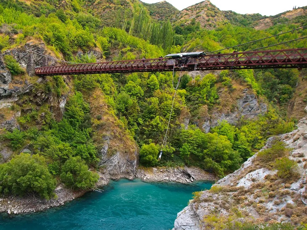 "Bungy jump in Queenstown, New Zealand, the ""adventure capital of the world."""