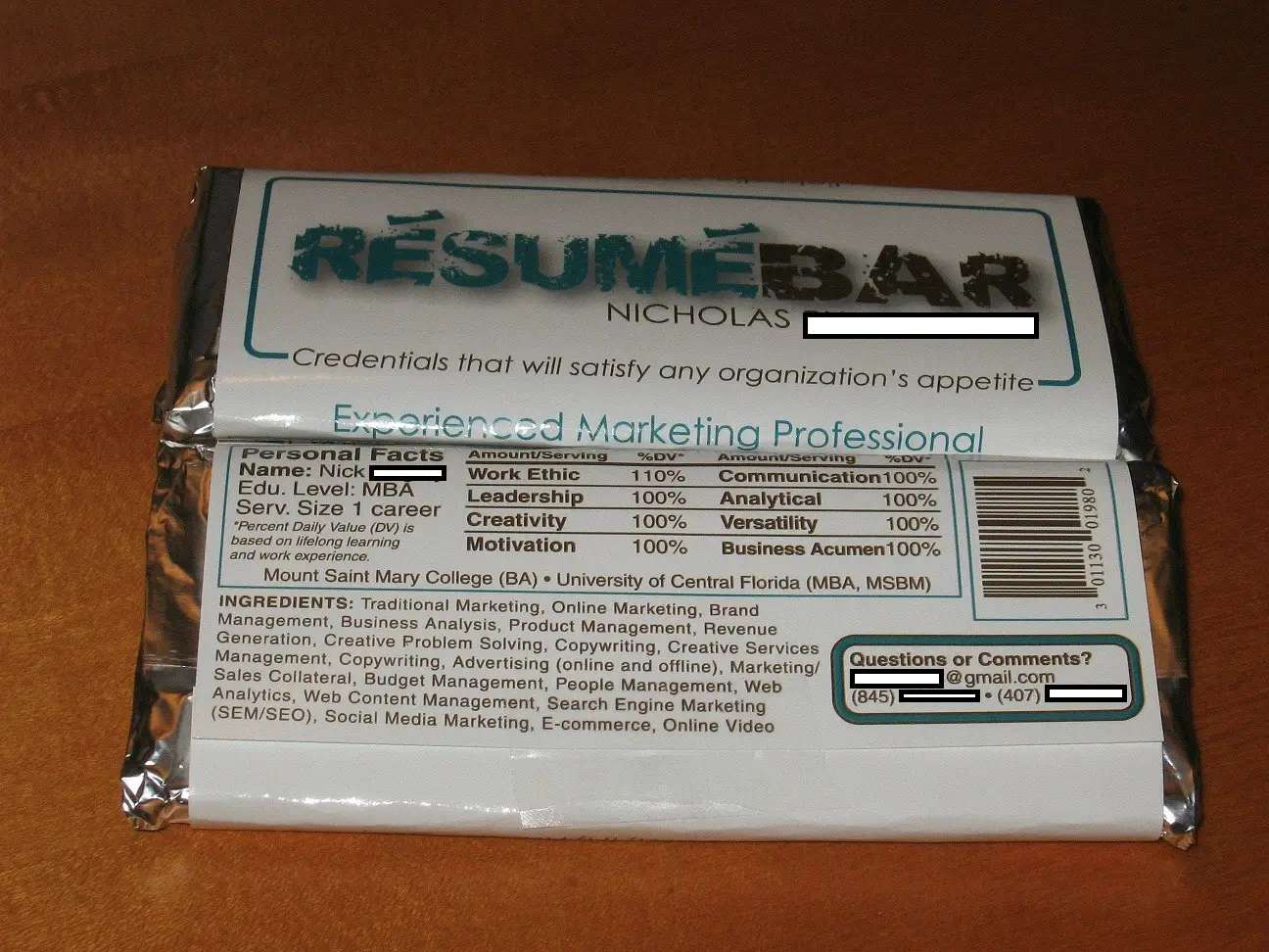 This candy bar resume went viral on Reddit, and got its creator a marketing job.