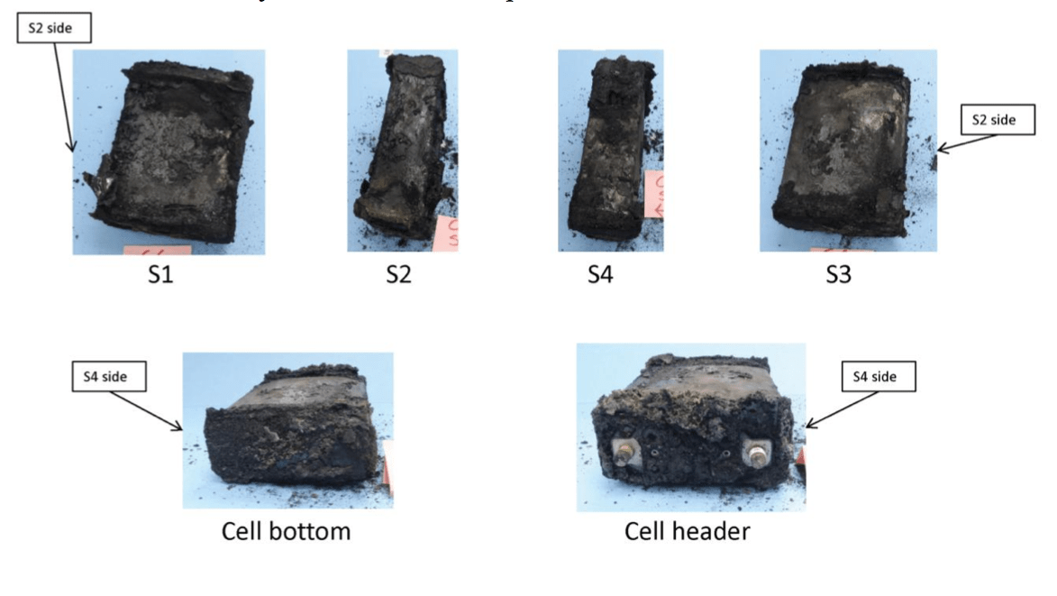 The NTSB found that of the battery's eight cells, all but one had electrically short circuited.