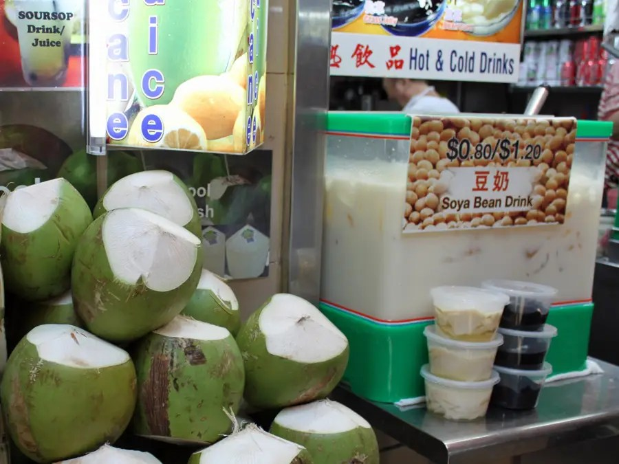People choose to wash down their meals with fresh coconut water or soy-based drinks.