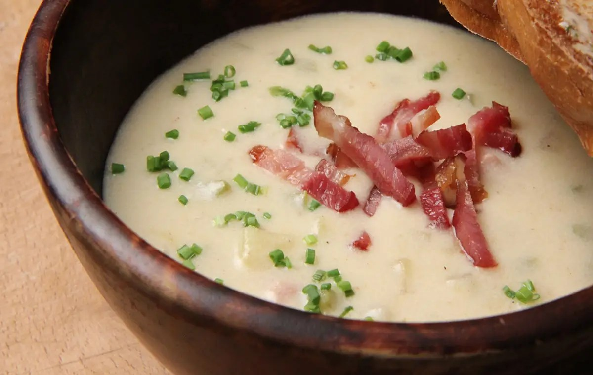 IDAHO: Slurp a comforting spoonful of creamy potato chowder. Diced bacon on top gives it a little salty twist.