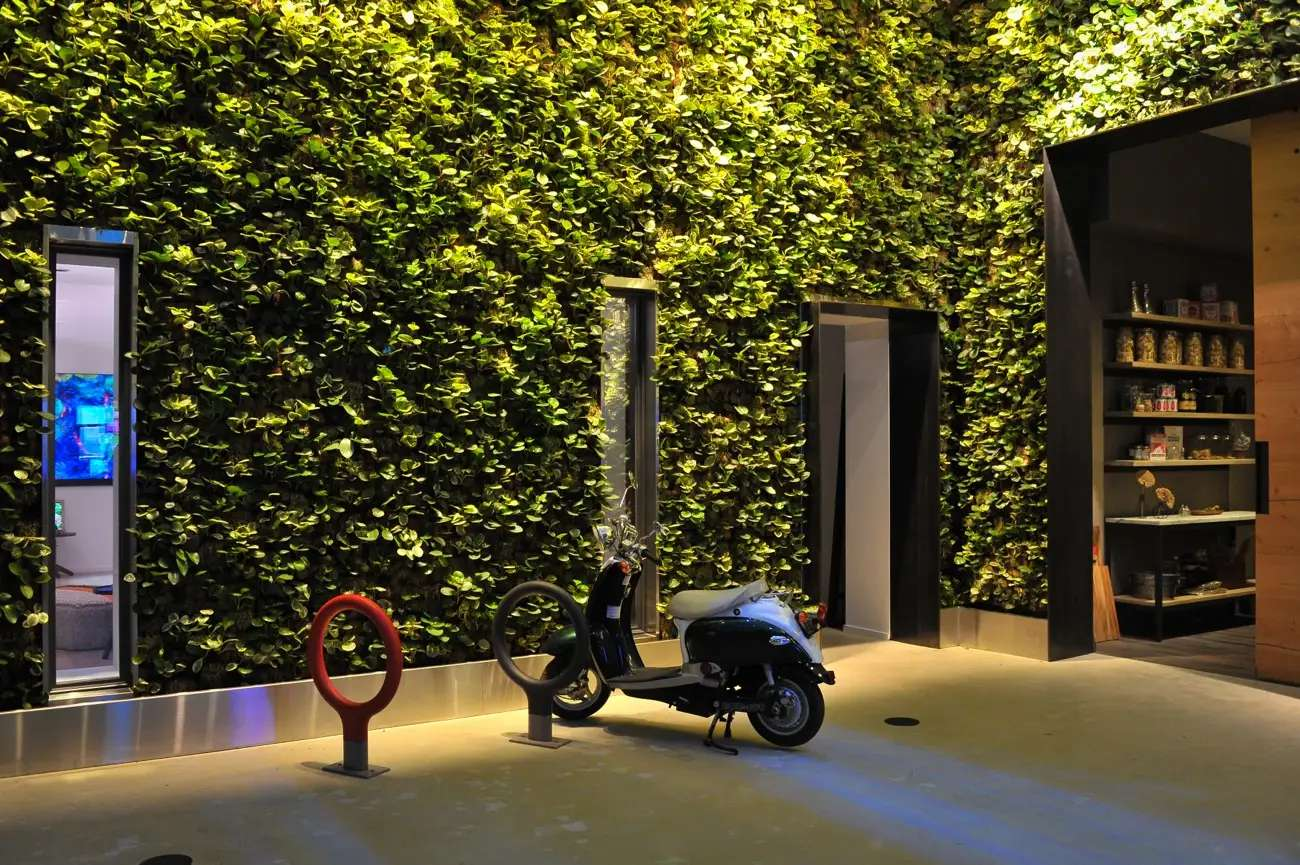 A scooter and some ivy decorate this space. (For more on what this space is all about click the link that's under this photo.)