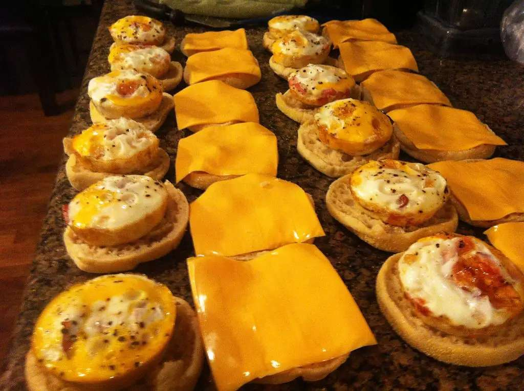 Or put all those ingredients in a muffin pan and heat in the oven to make a whole bunch of breakfast sandwiches that you can then freeze and save for quick microwaving.