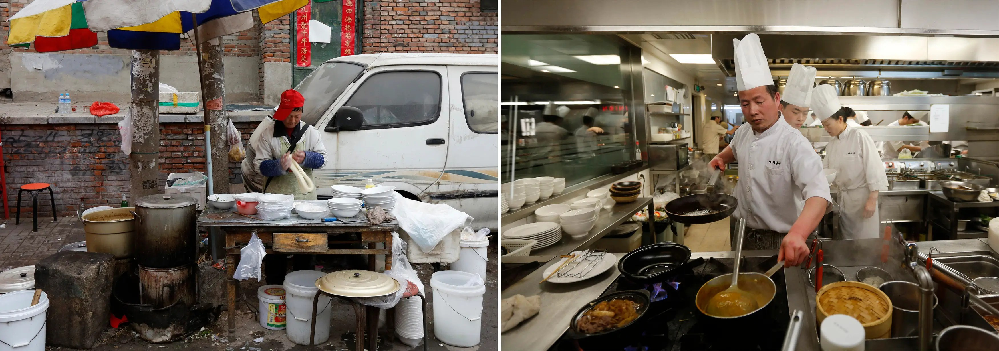 (L) A man makes noodles with dough at his makeshift restaurant in a half-destroyed, old residential area and (R) chefs cook a meal at a restaurant in a wealthy district in Beijing.