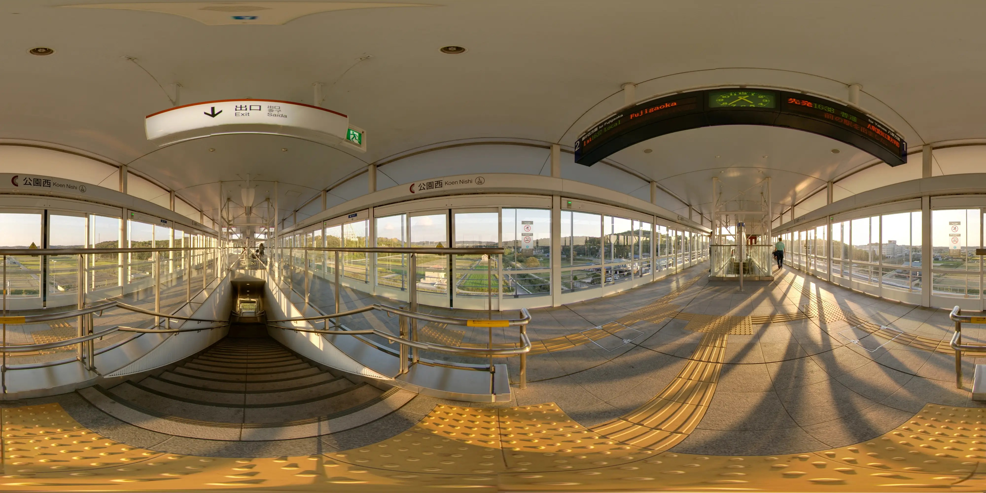 This is the Expo Park West mag-lev train station in Aichi, through the fish-eye lens of Mazukasa Matsomoto.