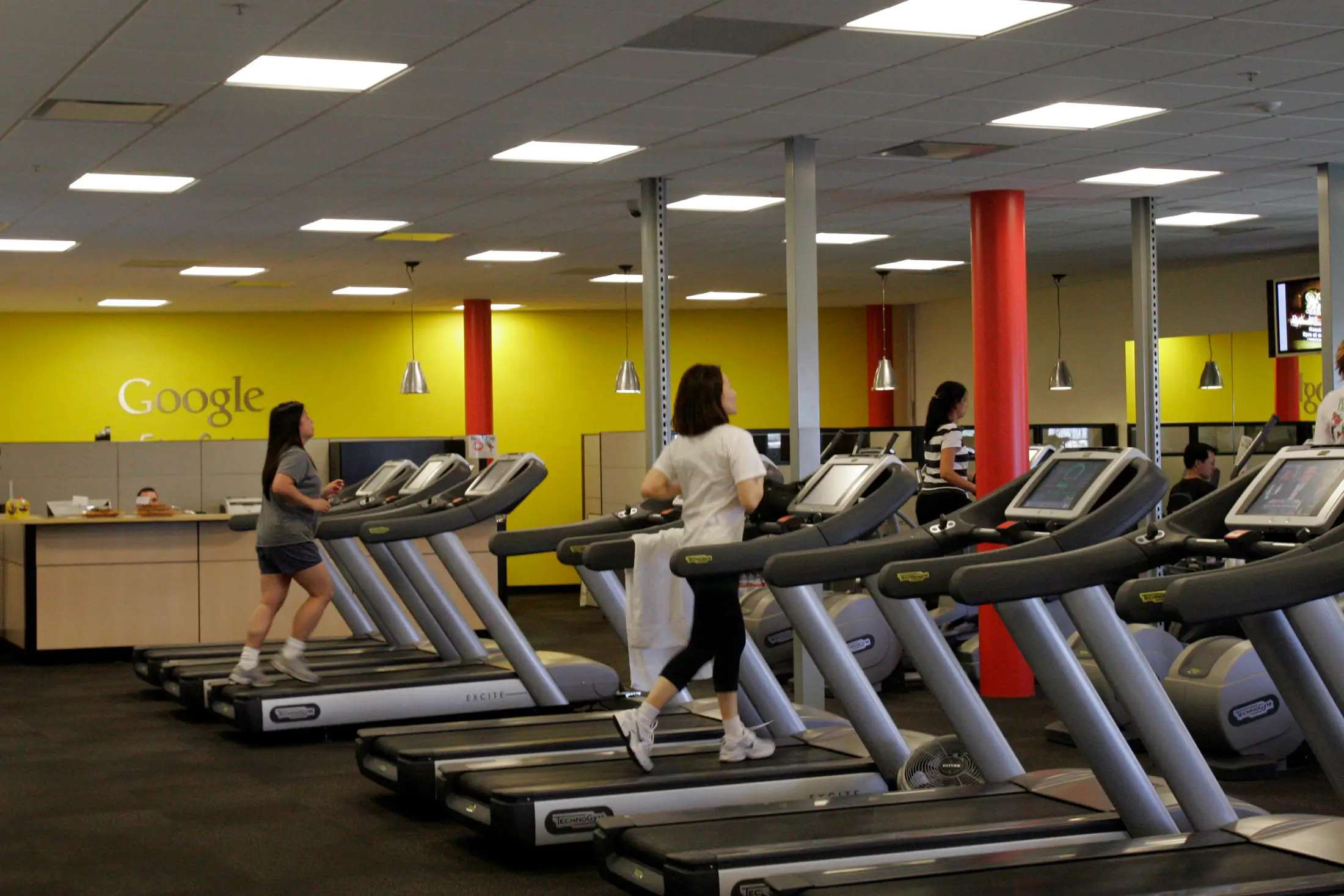 There are multiple fitness centers on campus. We didn't get to see any but here's a picture from a tour Google gave to Reuters a few years ago.