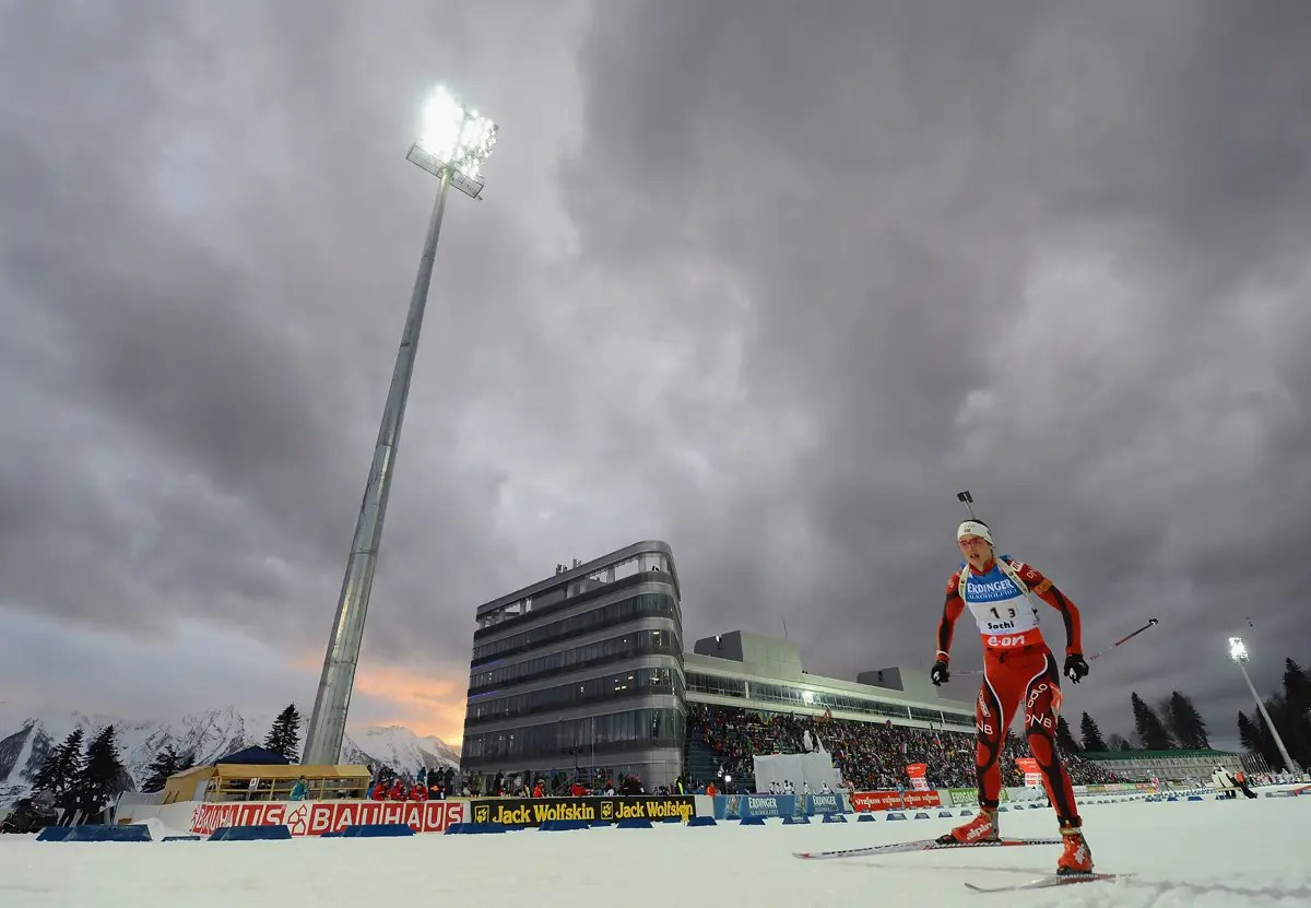 The stands at the biathlon center.
