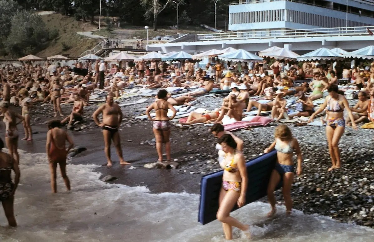 The rocky beach was just as popular then as it is today.