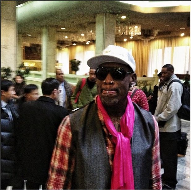 'Dennis Rodman & fellow USA basketball players arrive at a Pyongyang hotel ahead of a Jan. 8 game, the birthday of North Korean leader Kim Jong Un.'