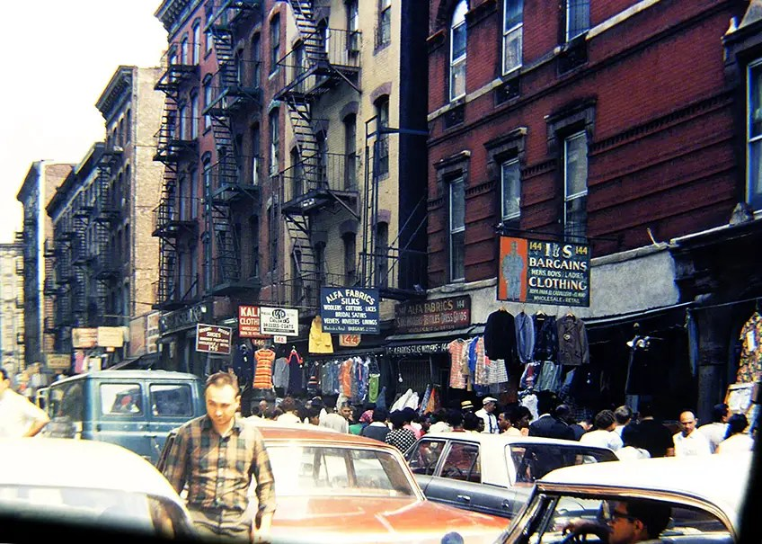 1968: Orchard Street in downtown Manhattan was filled with people and stores.